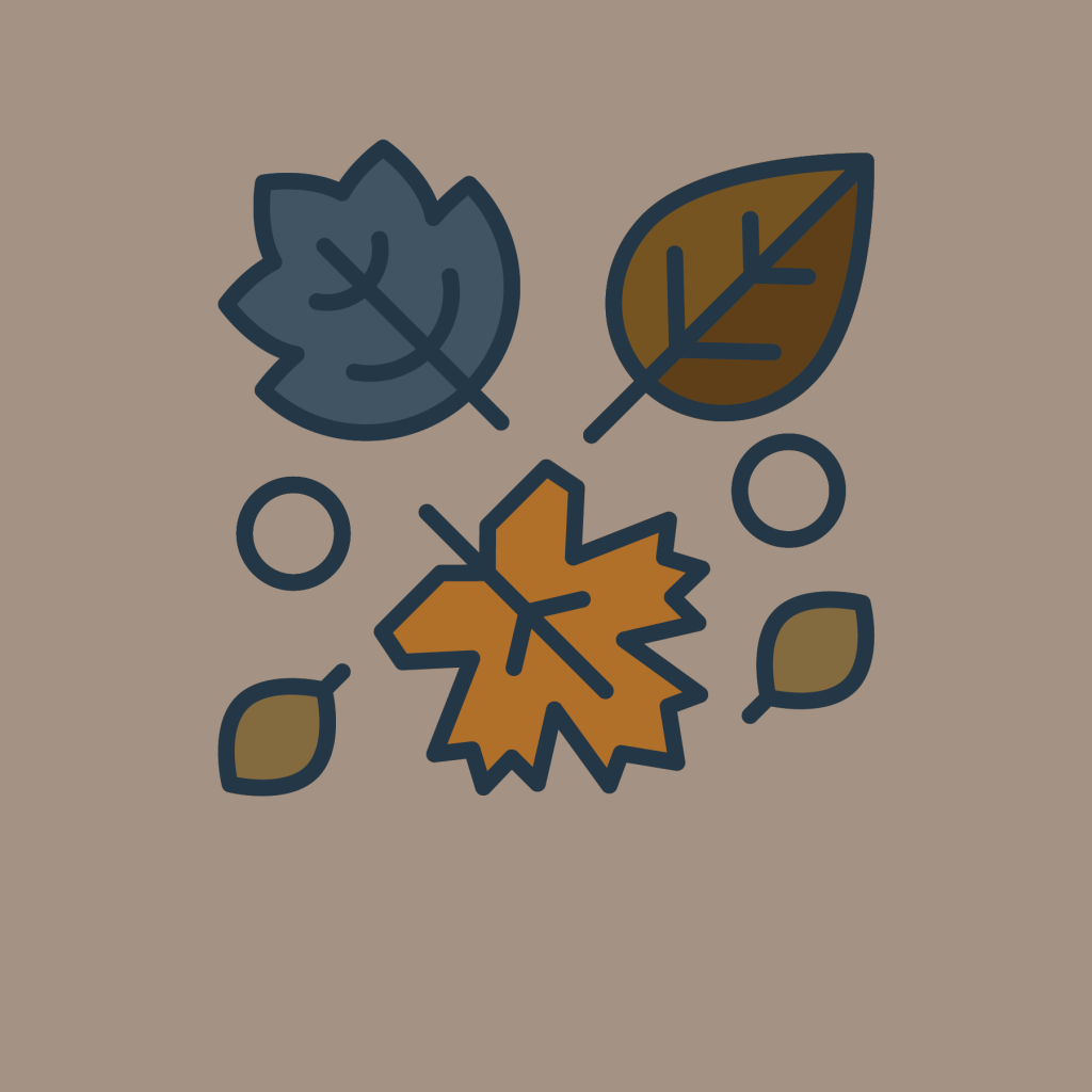 A variety of leaf icons with browns, orange and blue colors. Representing Fall Activities While Still Quarantined blog.